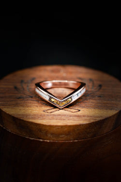 Women's Antler Wedding Band with Gold Nugget Inlay - Staghead Designs
