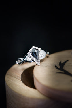 Unique Salt and Pepper Engagement Ring - Kite Cut Engagement Ring - Staghead Designs