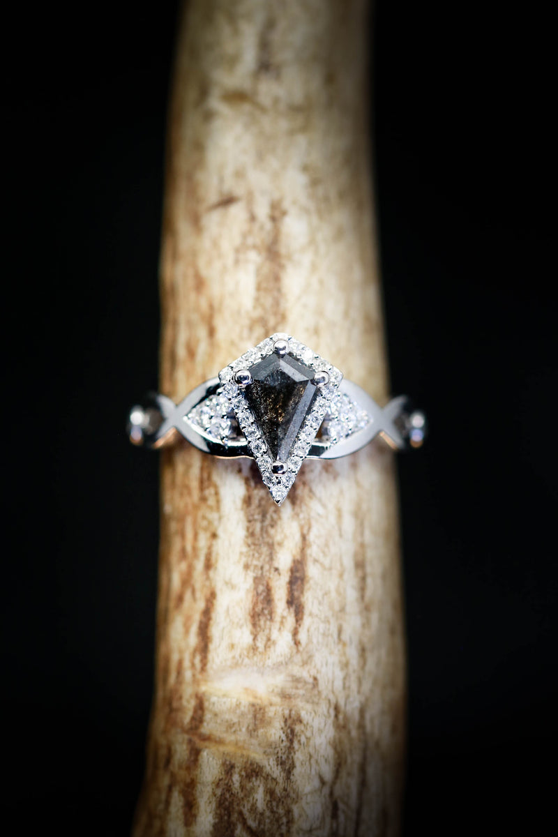 KITE CUT SALT AND PEPPER ENGAGEMENT RING WITH DIAMOND ACCENTS (available in 14K rose, white & yellow gold)