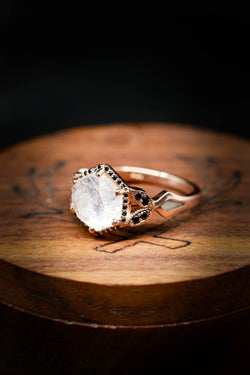 Black Diamond and Moonstone Engagement Ring on 14K Rose Gold - Staghead Designs