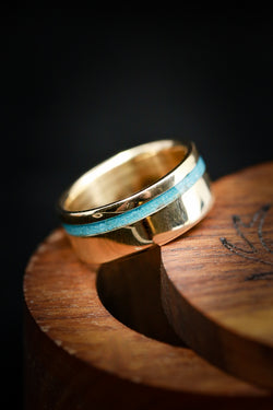 """VERTIGO"" IN 14K GOLD WITH TURQUOISE INLAY (fully customizable)"
