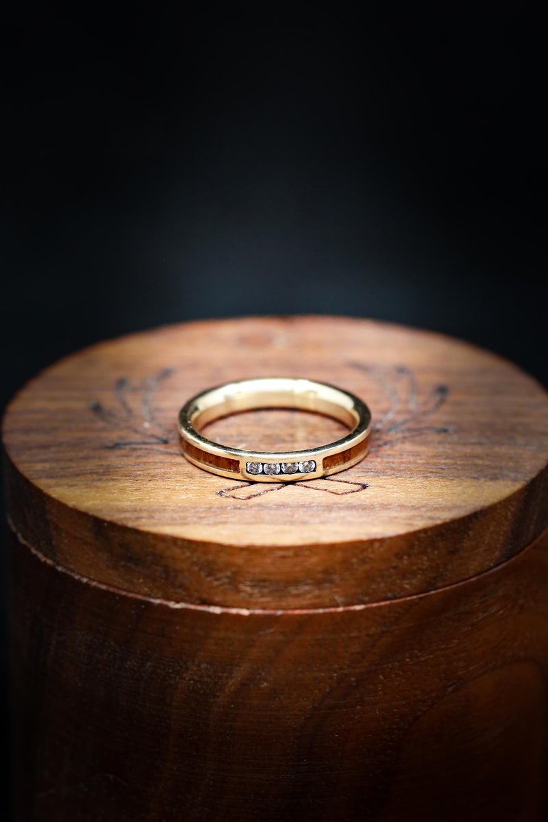 Women's Wooden Wedding Band with Diamond Accents - Staghead Designs