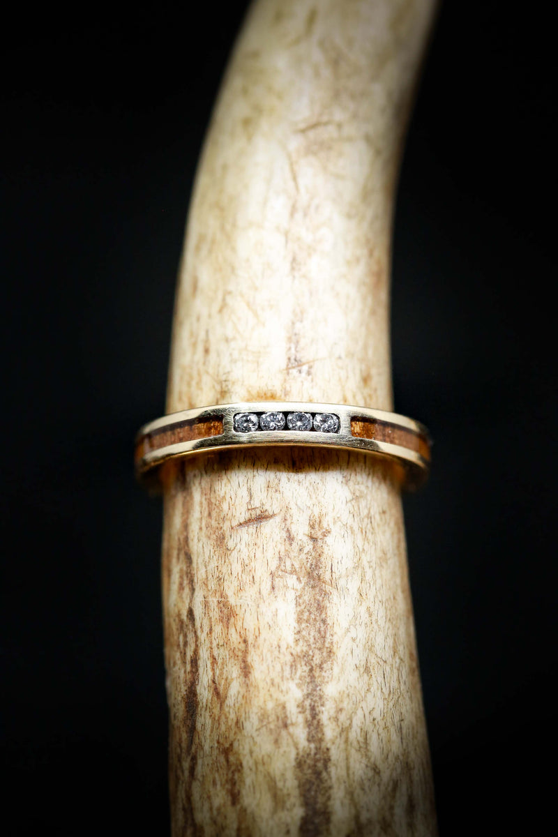 IRONWOOD STACKING BAND WITH 4 DIAMONDS (available in 14K rose, white and yellow gold)