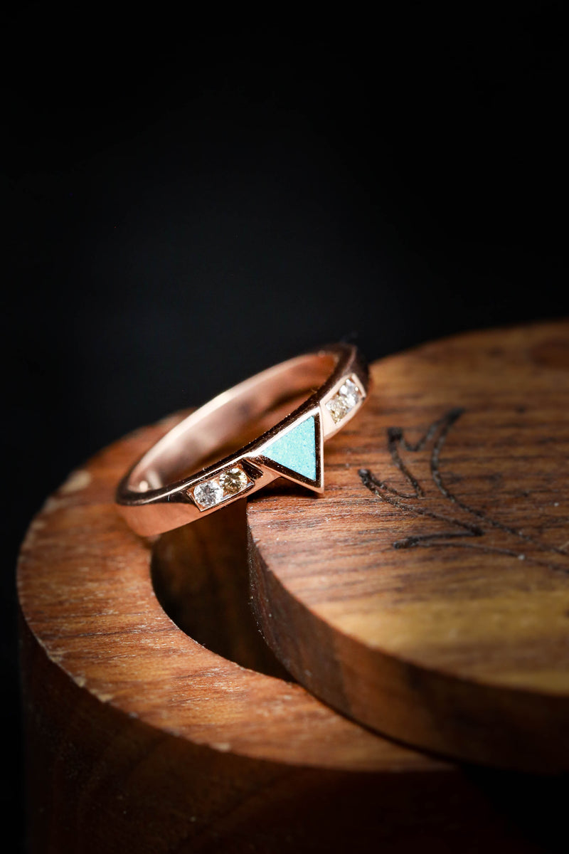 CUSTOM CAST TRIANGLE RING FILLED WITH TURQUOISE ON A DIAMOND ACCENTED BAND (fully customizable)