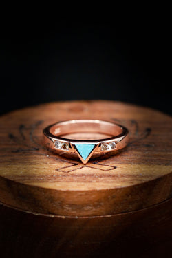 Turquoise Triangle Engagement Ring - Diamond Accent Engagement Ring - Staghead Designs