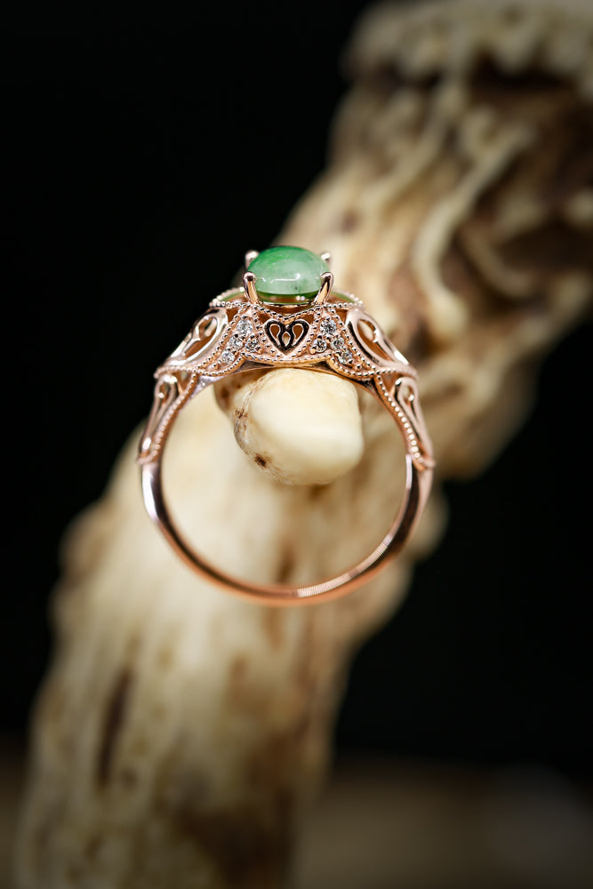 JADE ENGAGEMENT RING WITH VINTAGE STYLE BAND (available in 14K white, yellow & rose gold)