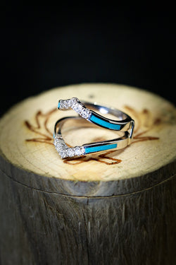 Custom Ring Guard Featuring Hand Crushed Turquoise & Diamond Accents - Staghead Designs