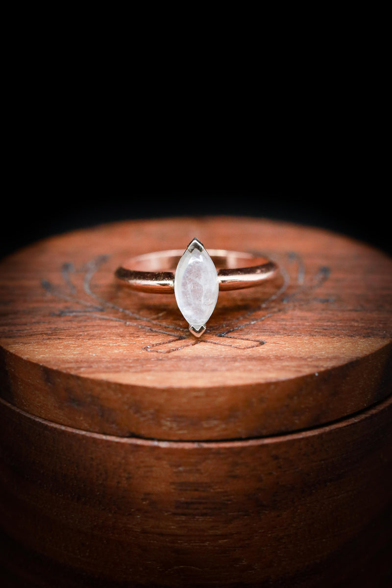 MARQUISE CUT MOONSTONE ENGAGEMENT RING WITH 14K GOLD BAND (available in 14K rose, white and yellow gold)