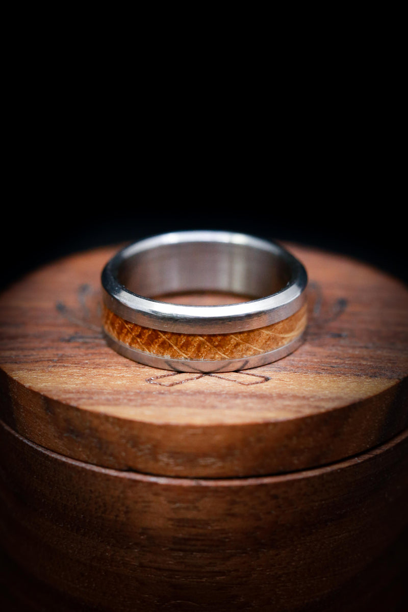 TITANIUM WEDDING RING WITH WIDE & OFFSET WHISKEY BARREL OAK INLAY (fully customizable)