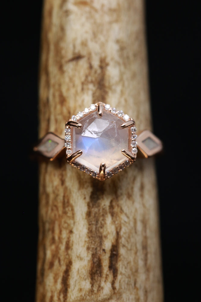 HEXAGON MOONSTONE ENGAGEMENT RING WITH WHITE OPAL INLAYS (available in 14K white, rose, or yellow gold)