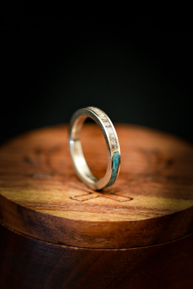 Turquoise Wedding Band - Women's Antler Wedding Band - Staghead Designs