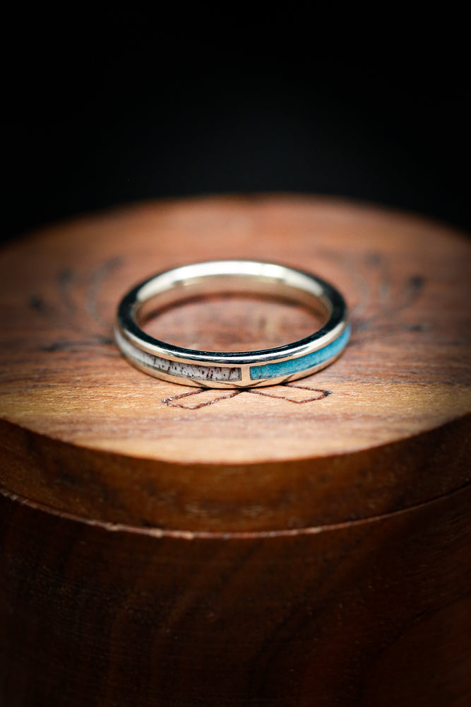 SPLIT STACKING BAND WITH TURQUOISE AND ANTLER IN 14K GOLD (available in 14K yellow, white, or rose gold)
