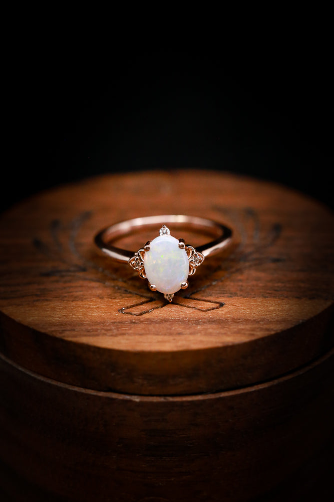 Unique Engagement Rings for Women's - White Opal & Diamond Accents - Staghead Designs