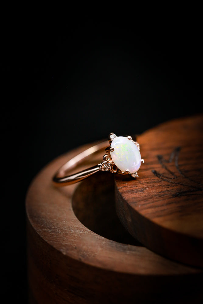 """ZELLA"" ENGAGEMENT RING WITH WHITE OPAL CENTER STONE (fully customizable)"