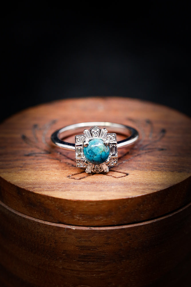 Turquoise Engagement Ring - Women's Turquoise & Diamond Engagement Band - Staghead Designs