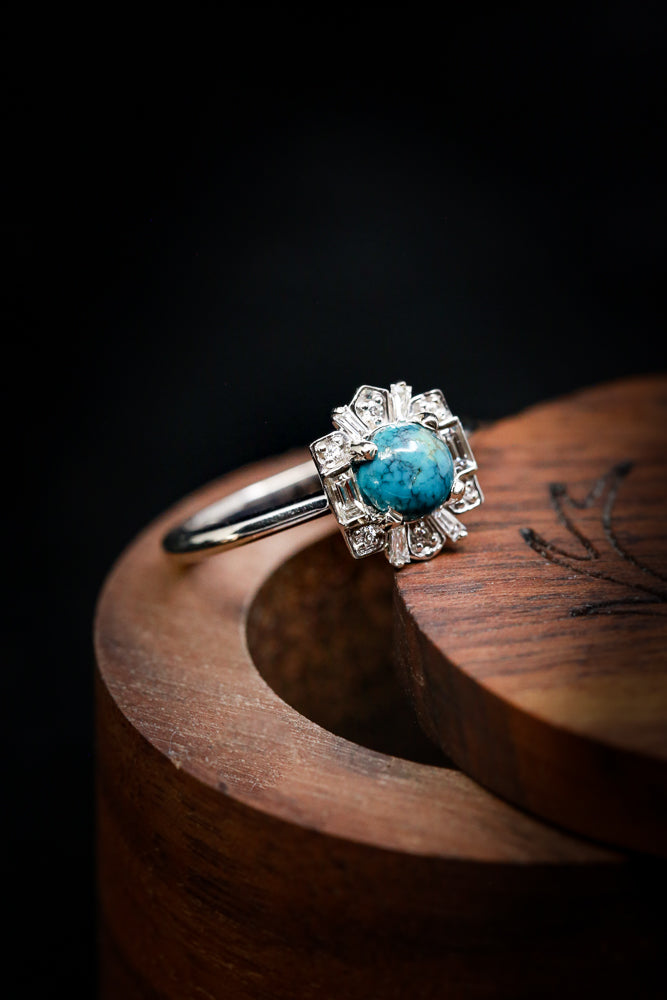 """CLEOPATRA"" ENGAGEMENT RING WITH A ROUND TURQUOISE CENTER STONE (fully customizable)"