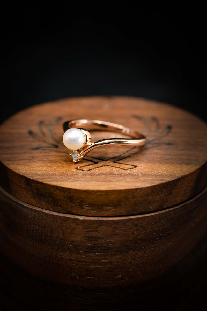 WOMEN'S ENGAGEMENT RING WITH AKOYA PEARL (available in 14K rose, white, and yellow gold)