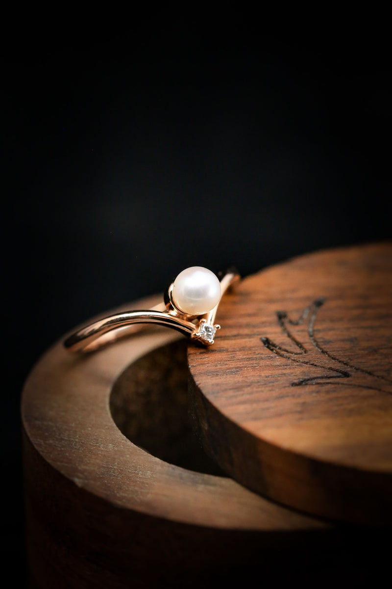 14K Rose Gold & Pearl Ring - Pearl Engagement Ring - Staghead Designs