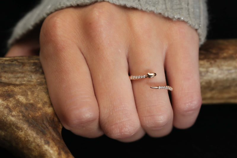 "THE ""SERPENT"" - DIAMOND ACCENTED RING IN 14K GOLD (available in 14K white, rose or yellow gold)"