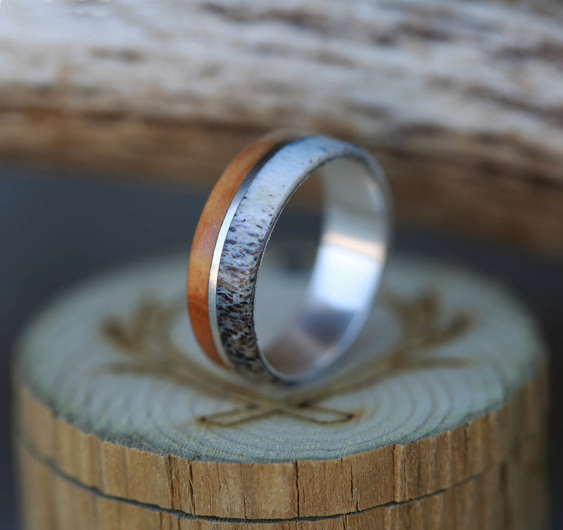 """GOLDEN"" IN SILVER, WHISKEY BARREL, AND ANTLER INLAYS (available in silver, black zirconium & 14K white, rose, or yellow gold) -  Custom Rings Handcrafted By Staghead Designs"