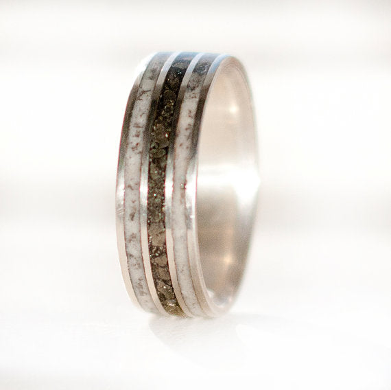 """RIO"" - SILVER RING WITH ANTLER & IRON ORE INLAYS (available in silver, black zirconium, damascus steel & 14K white, rose, or yellow gold) -  Custom Rings Handcrafted By Staghead Designs"