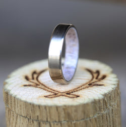 14K GOLD ANTLER LINED WEDDING BAND (available in 14K white, rose or yellow gold) - Staghead Designs - Antler Rings By Staghead Designs
