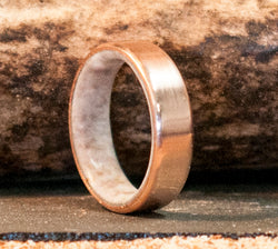 14K GOLD ANTLER LINED WEDDING BAND (available in 14K white, rose or yellow gold) -  Custom Rings Handcrafted By Staghead Designs