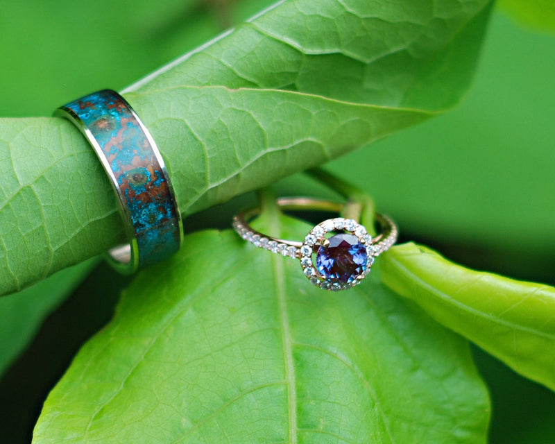 14K GOLD ENGAGEMENT RING WITH CHATHAM ALEXANDRITE AND 3/8ctw DIAMOND ACCENTS (available in 14K rose gold) - Staghead Designs - Antler Rings By Staghead Designs