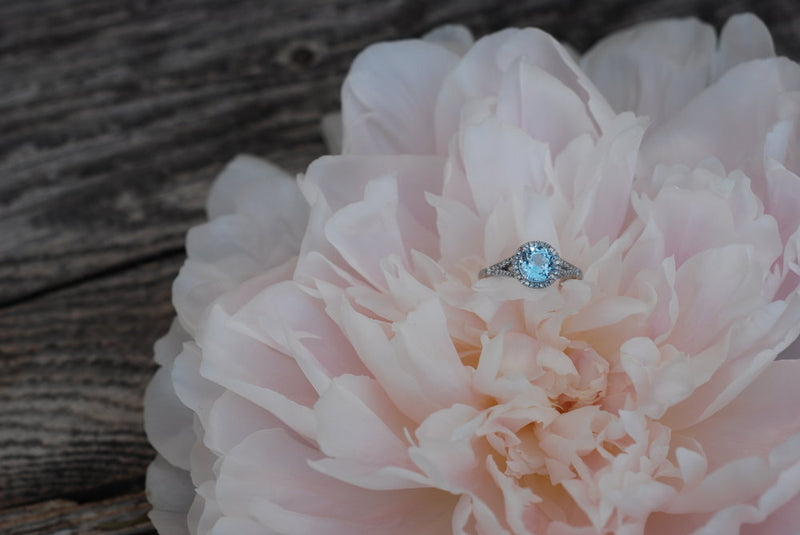 14K GOLD & SKY BLUE TOPAZ WITH DIAMOND HALO ENGAGEMENT RING (available in 14K white gold) - Staghead Designs - Antler Rings By Staghead Designs