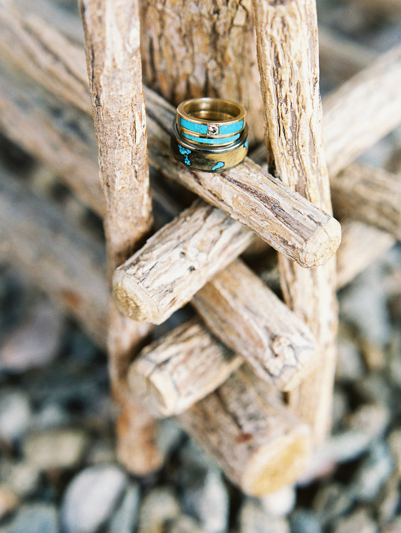 BUCKEYE BURL RING WITH TURQUOISE INLAYS (available in titanium, silver, black zirconium, damascus steel & 14K white, rose, or yellow gold) - Staghead Designs - Antler Rings By Staghead Designs