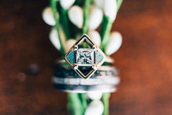 TURQUOISE & 14K GOLD WOMEN'S ENGAGEMENT RING WITH CUSTOM INLAYS (available in 14K rose, yellow, or white gold) - Staghead Designs - Antler Rings By Staghead Designs