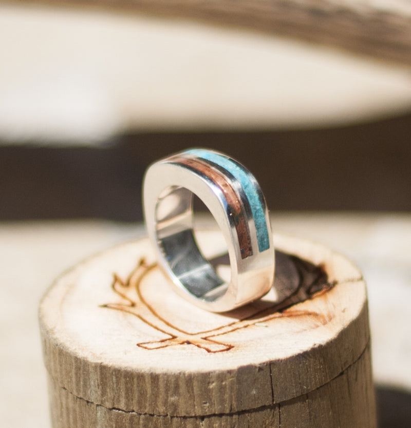 CUSTOM SHAPED AND CAST WEDDING BAND WITH TURQUOISE & PATINA COPPER INLAYS (available in silver & 14K white, rose, or yellow gold) - Staghead Designs - Antler Rings By Staghead Designs