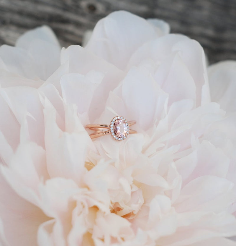 """FRENCHY"" ENGAGEMENT RING IN 14K GOLD WITH MORGANITE & A DIAMOND HALO (available in 14K rose, white, or yellow gold) - Staghead Designs - Antler Rings By Staghead Designs"