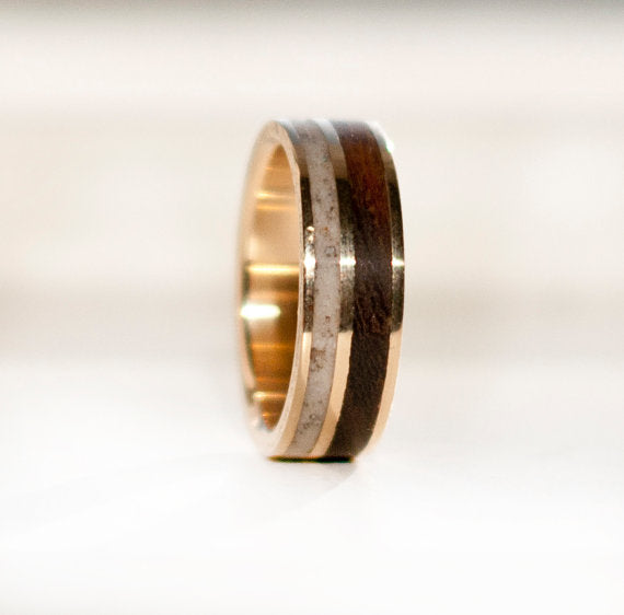 14K GOLD, WOOD & ANTLER RING (available in 14K white, rose, or yellow gold) -  Custom Rings Handcrafted By Staghead Designs