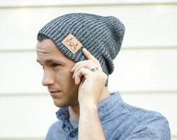 Charcoal Colored Slouch Style Beanie w/ Leather Patch - Staghead Designs - Antler Rings By Staghead Designs