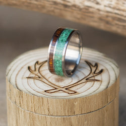 MALACHITE & IRONWOOD WEDDING BAND (available in titanium, silver, black zirconium, damascus steel & 14K white, rose, or yellow gold) - Staghead Designs - Antler Rings By Staghead Designs