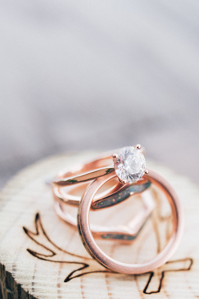 14K GOLD SOLITAIRE ENGAGEMENT RING WITH 1ct MOISSANITE STONE AND 4 PRONGS (available in 14K rose, white, or yellow gold) -  Custom Rings Handcrafted By Staghead Designs