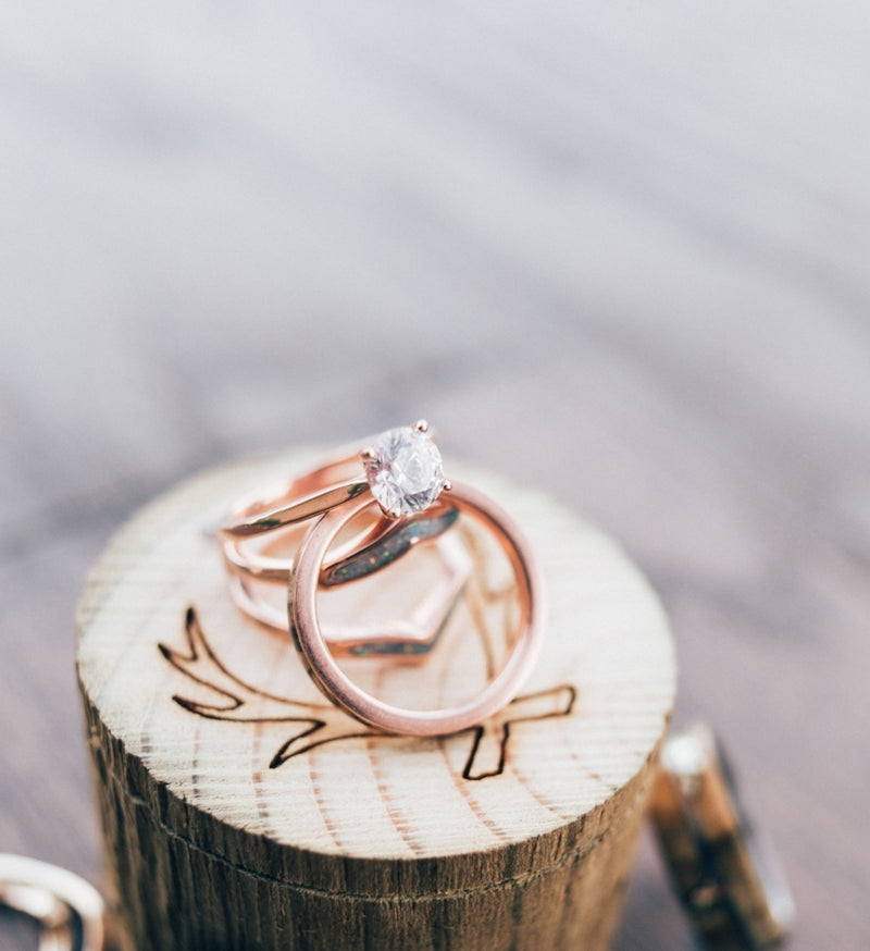 14K GOLD SOLITAIRE ENGAGEMENT RING WITH 1ct MOISSANITE STONE AND 4 PRONGS (available in 14K rose, white, or yellow gold) - Staghead Designs - Antler Rings By Staghead Designs