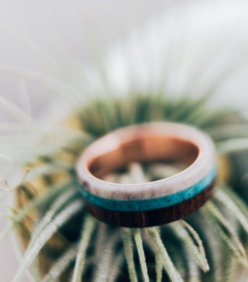 """BANNER"" IN TITANIUM WITH WOOD, ANTLER & TURQUOISE - MEN'S WEDDING BAND (available in titanium, silver, black zirconium & 14K white, rose, or yellow gold) -  Custom Rings Handcrafted By Staghead Designs"