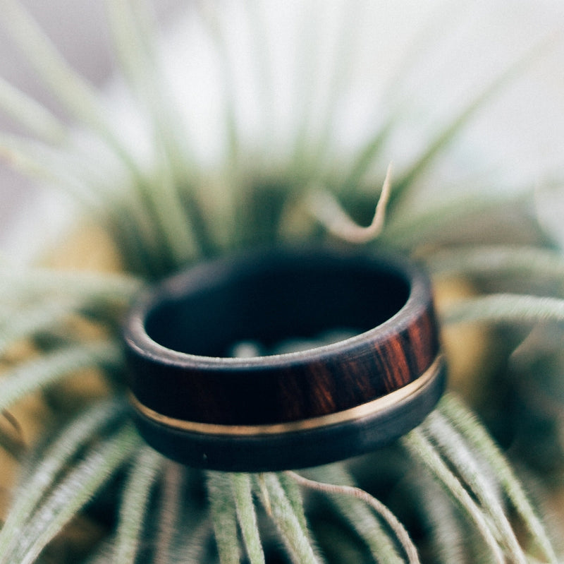 """TANNER"" WEDDING RING IN BLACK ZIRCONIUM, IRONWOOD & A 14K GOLD INLAY (available in black zirconium, silver, damascus steel & 14K white, yellow, or rose gold) -  Custom Rings Handcrafted By Staghead Designs"