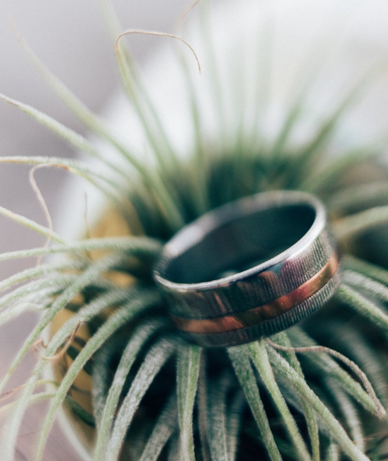 MEN'S WEDDING BAND FEATURING DAMASCUS STEEL & 14K GOLD INLAY (Inlay is available in 14K rose, white or yellow gold) -  Custom Rings Handcrafted By Staghead Designs