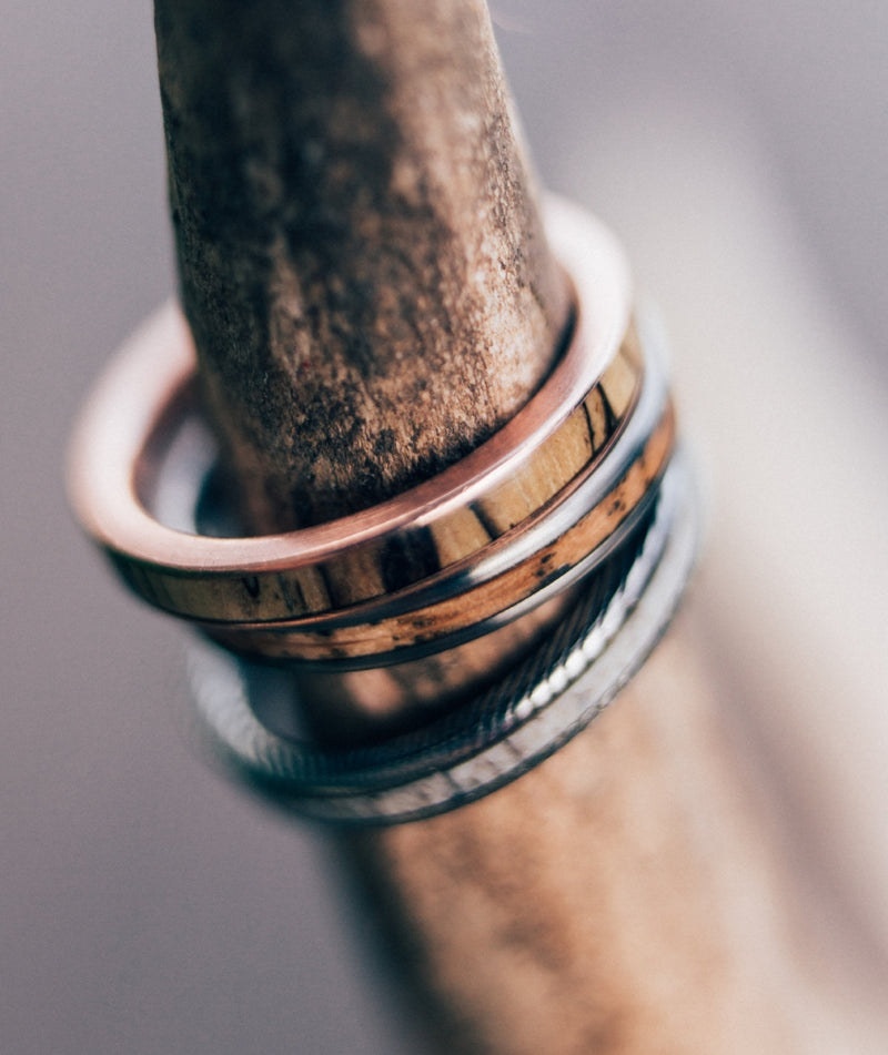 SPALTED MAPLE SET IN 14K GOLD WEDDING BAND (available in 14K white, rose or yellow gold) - Staghead Designs - Antler Rings By Staghead Designs