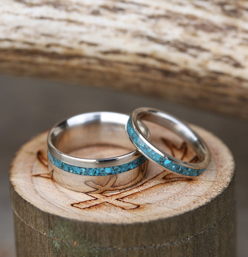 """VERTIGO"" - MATCHING SET OF SILVER & TURQUOISE WEDDING BANDS (available in silver, black zirconium, damascus steel & 14K white, rose or yellow gold) - Staghead Designs - Antler Rings By Staghead Designs"