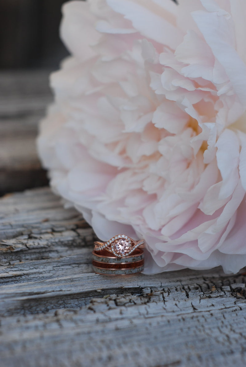 MORGANITE & DIAMOND HALO ENGAGEMENT RING SET ON A 14K GOLD BAND (available in 14K yellow, rose, or white gold) - Staghead Designs - Antler Rings By Staghead Designs