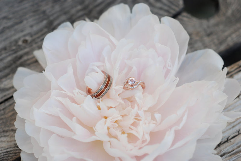 MORGANITE & DIAMOND HALO ENGAGEMENT RING SET ON A 14K GOLD BAND (available in 14K yellow, rose, or white gold) -  Custom Rings Handcrafted By Staghead Designs