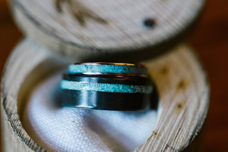 "THE ""VERTIGO"" - MATCHING SET OF 14K GOLD AND TURQUOISE RINGS (available in 14K white, rose, or yellow gold) - Staghead Designs - Antler Rings By Staghead Designs"