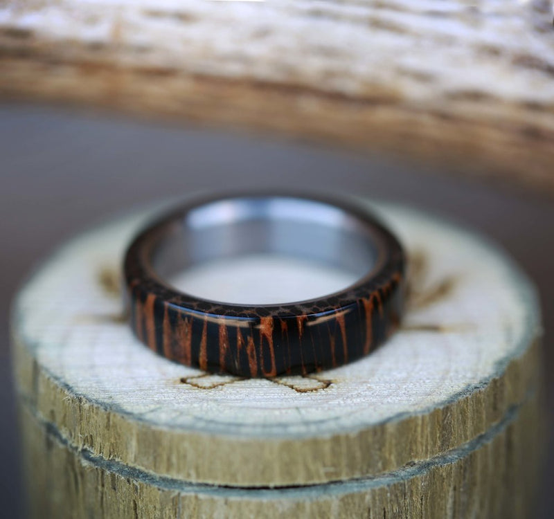 WENGE WOOD & TITANIUM WEDDING BAND (available in titanium, silver, black zirconium & 14K white, rose or yellow gold) - Staghead Designs - Antler Rings By Staghead Designs