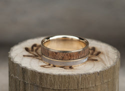 REDWOOD & MOTHER OF PEARL WEDDING BAND WITH 14K GOLD BASE (available in 14K white, rose or yellow gold) -  Custom Rings Handcrafted By Staghead Designs