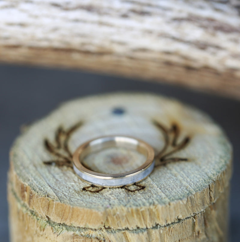 MOTHER OF PEARL & 14K GOLD STACKING WEDDING BAND (available in 14K yellow, white, or rose gold) - Staghead Designs - Antler Rings By Staghead Designs