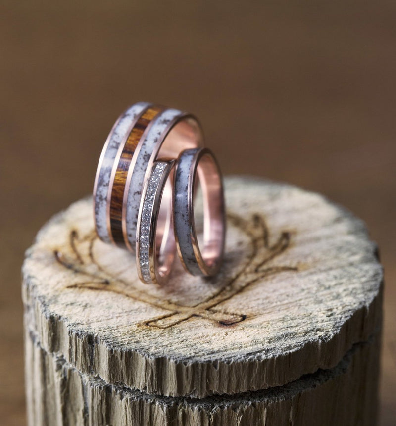 14K GOLD STACKING BAND WITH ANTLER INLAY (available in 14K yellow, white, or rose gold) - Staghead Designs - Antler Rings By Staghead Designs